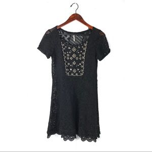 Free people dress black lace beaded embellished L